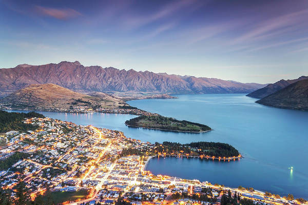 Lakes Region Photograph - Iconic Queenstown Cityscape At Dusk by Matteo Colombo