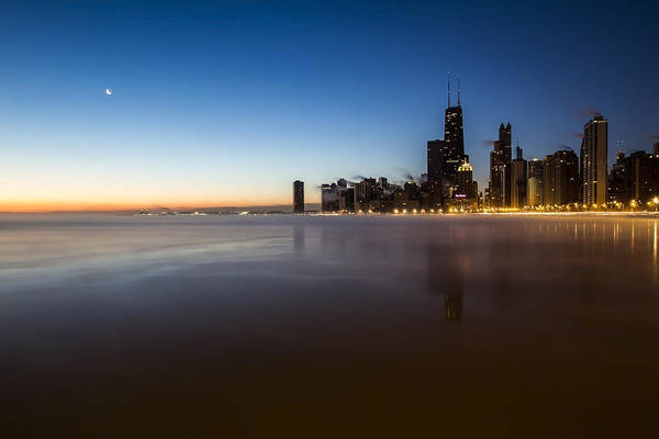 Photograph - icy crescent moon dawn scene in Chicago by Sven Brogren