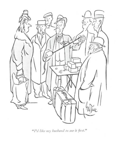 Retail Drawing - I'd Like My Husband To See It ?rst by George Price