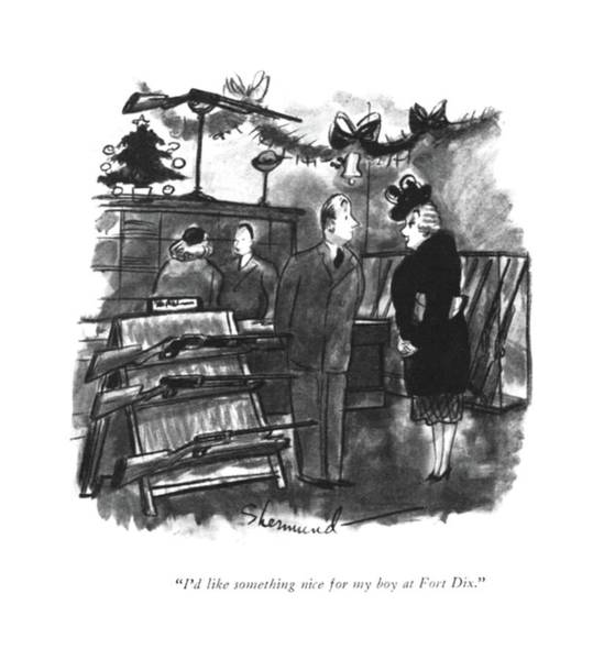 Retail Drawing - I'd Like Something Nice For My Boy At Fort Dix by Barbara Shermund