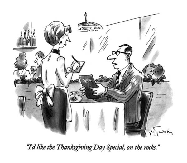 Waitress Wall Art - Drawing - I'd Like The Thanksgiving Day Special by Mike Twohy