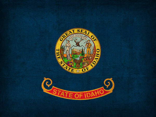 Wall Art - Mixed Media - Idaho State Flag Art On Worn Canvas by Design Turnpike