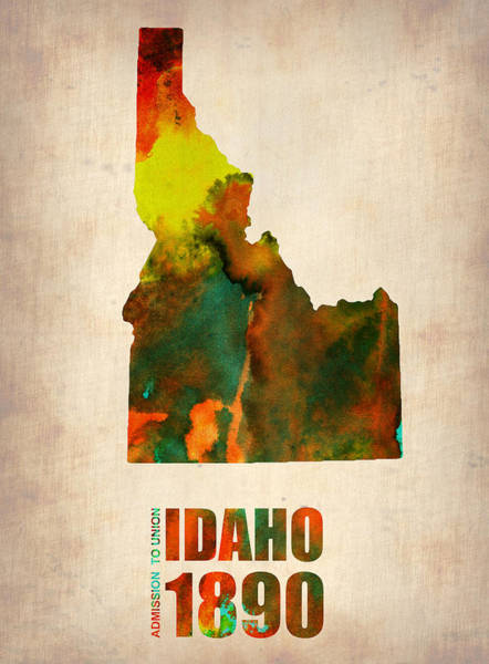 Idaho Watercolor Map Art Print