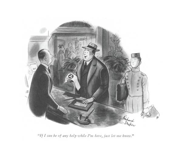 National Security Drawing - If I Can Be Of Any Help While I'm Here by Richard Decker