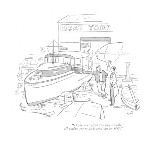 Boat Ride Wall Art - Drawing - If She Ever Gives You Any Trouble by Richard Decker