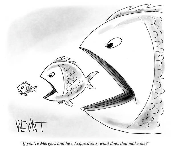 Wall Art - Drawing - If You're Mergers And He's Acquistions What by Christopher Weyant
