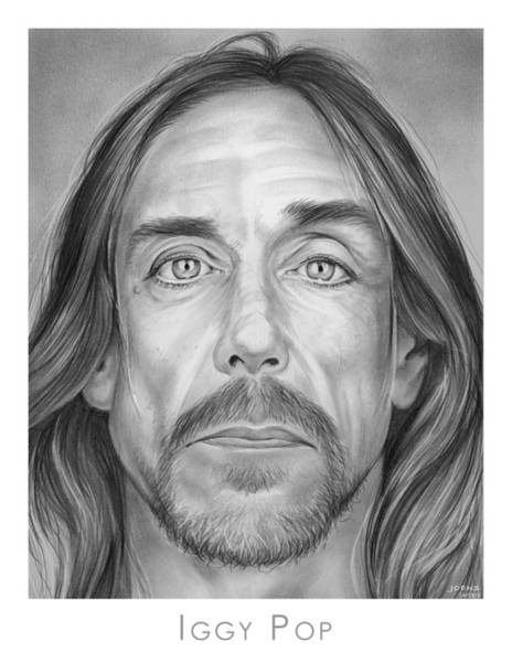 Rock Music Drawing - Iggy Pop by Greg Joens
