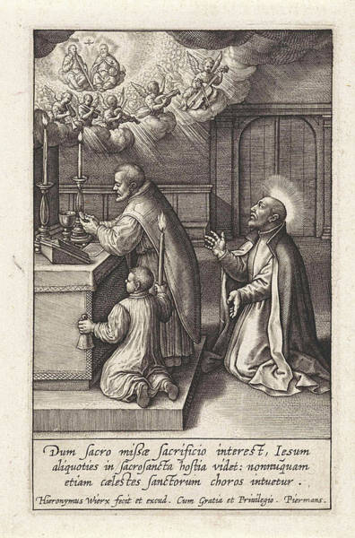 Wall Art - Drawing - Ignatius Loyola Has A Vision Of The Trinity by Hieronymus Wierix