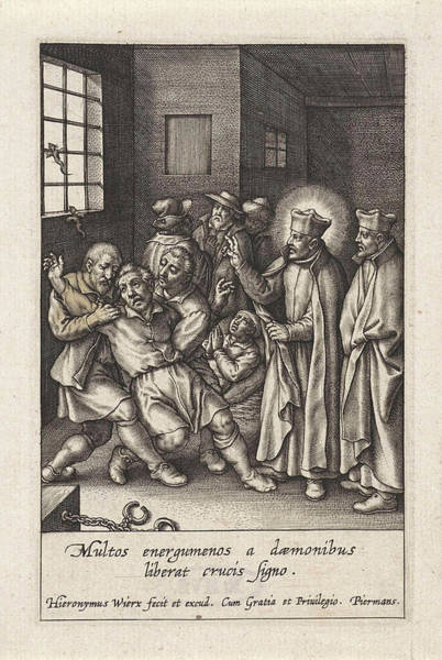 Wall Art - Drawing - Ignatius Loyola Performs A Devilish Spell by Hieronymus Wierix
