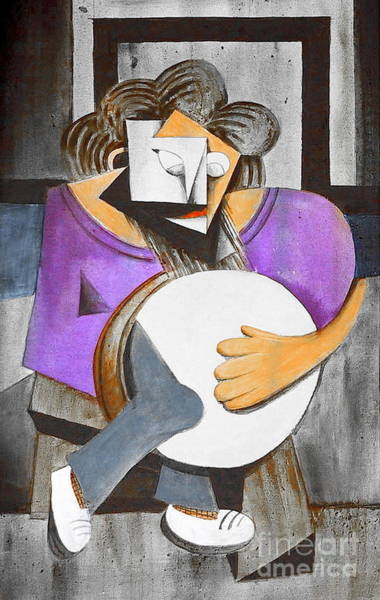 Painting - Ignatus With His Bodhran by Val Byrne