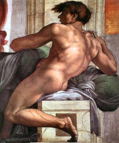 Painting - Ignudo Number One Of 1511 by Michelangelo Buonarroti