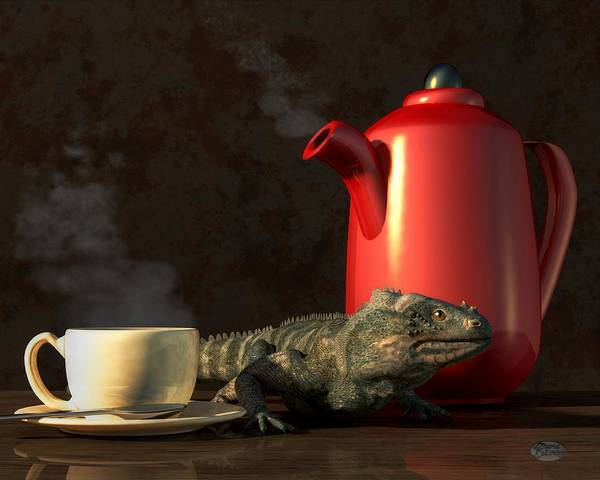 Digital Art - Iguana Coffee by Daniel Eskridge
