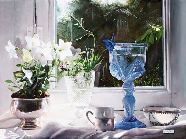 Glasses Painting - Il Calice Blu by Guido Borelli