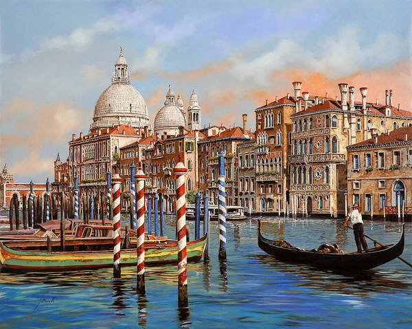 Bar Wall Art - Painting - Il Canal Grande by Guido Borelli