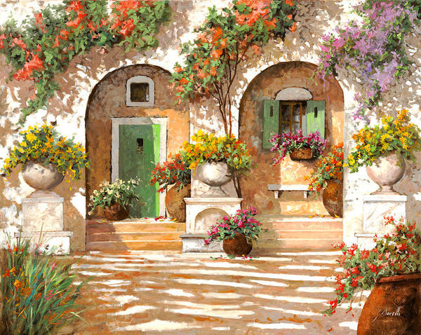 Light Green Painting - Il Cortile by Guido Borelli