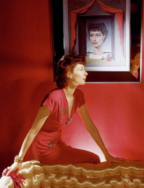 Celebrities Photograph - Ilka Chase In A Dress From Bergdorf Goodman by Horst P. Horst
