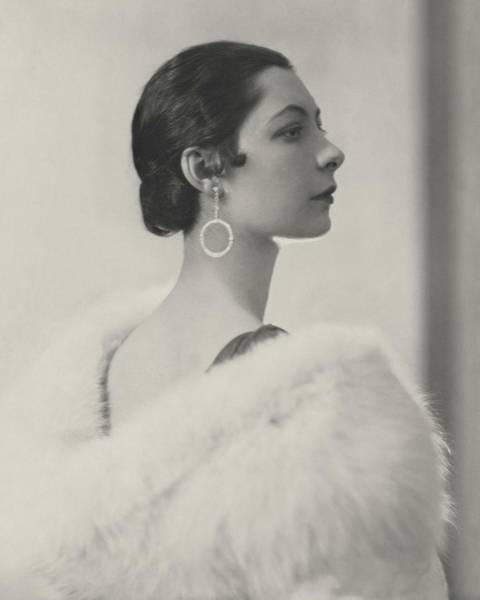 Profile Photograph - Ilka Chase Wearing Diamond Earrings by Edward Steichen