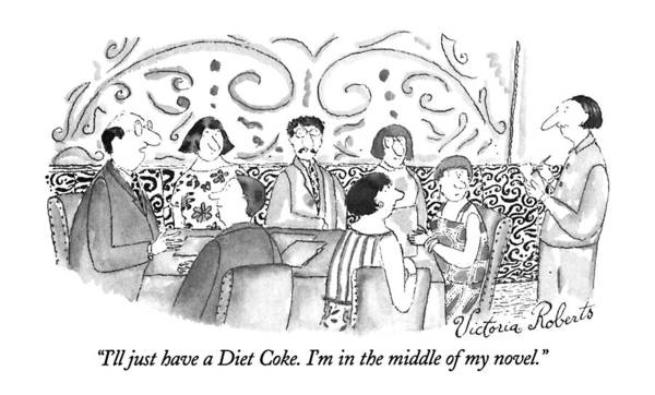 June 24th Drawing - I'll Just Have A Diet Coke.  I'm In The Middle by Victoria Roberts
