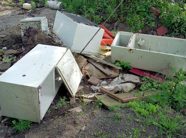 Wall Art - Photograph - Illegally Dumped Fridges by Robert Brook/science Photo Library