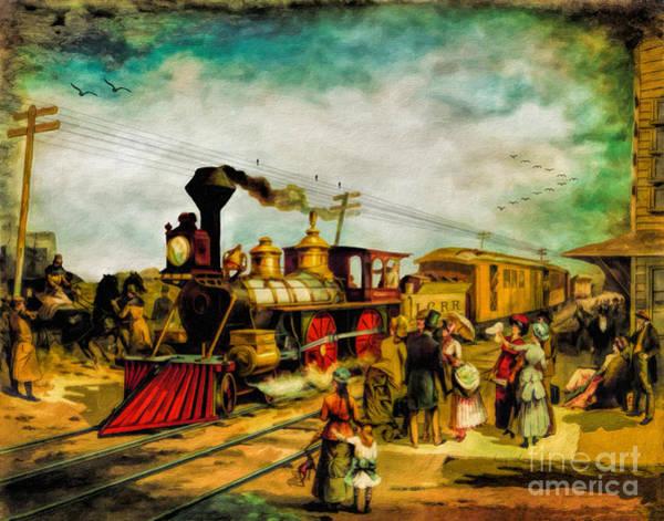 Wall Art - Digital Art - Illinois Central Railroad 1882 by Lianne Schneider