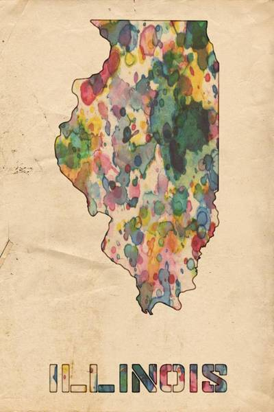 Wall Art - Painting - Illinois Map Vintage Watercolor by Florian Rodarte