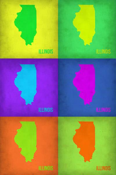 Wall Art - Painting - Illinois Pop Art Map 1 by Naxart Studio