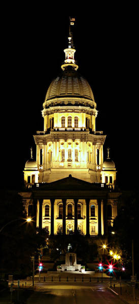 Springfield Illinois Wall Art - Photograph - Illinois State Capitol -- Night by Stephen Stookey