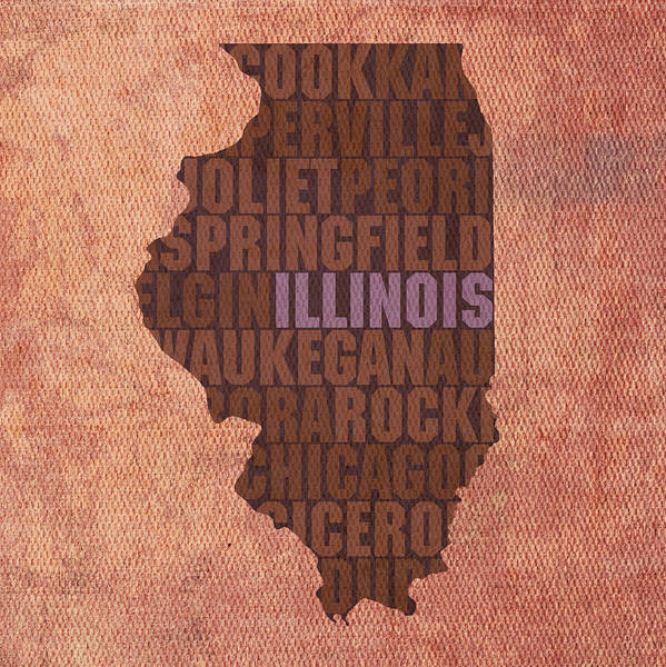 Map Art Mixed Media - Illinois State Word Art On Canvas by Design Turnpike