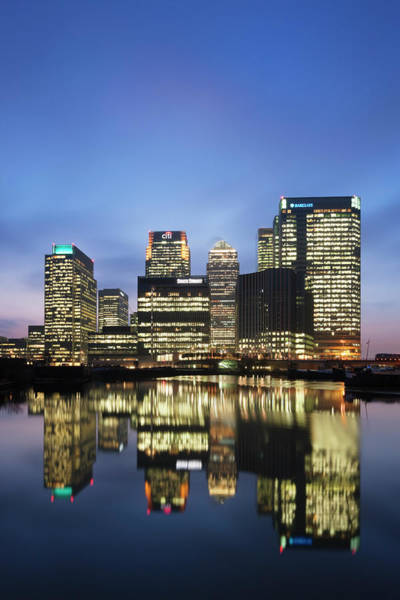 Canary Wharf Photograph - Illuminated Buildings At Night Canary by Laurie Noble
