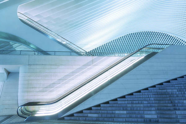 Illuminated Escalator Outside Art Print