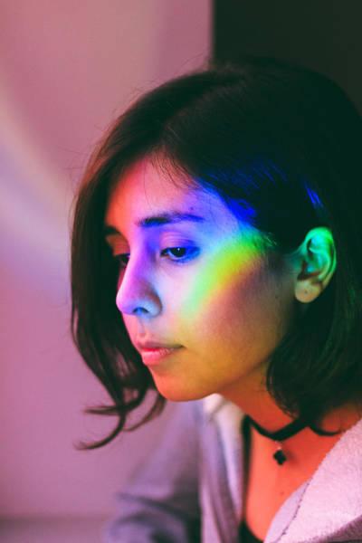 Illuminated Light Falling On Thoughtful Woman Face Art Print by Camilo Fuentes Beals / EyeEm