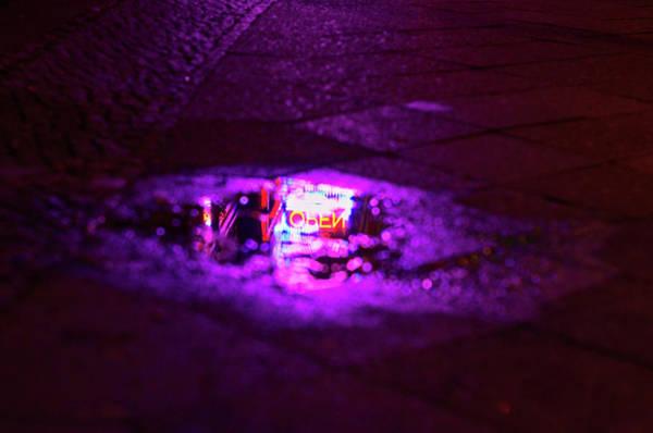 Open Photograph - Illuminated Open Sign Reflecting In by Nicolas Balcazar / Eyeem