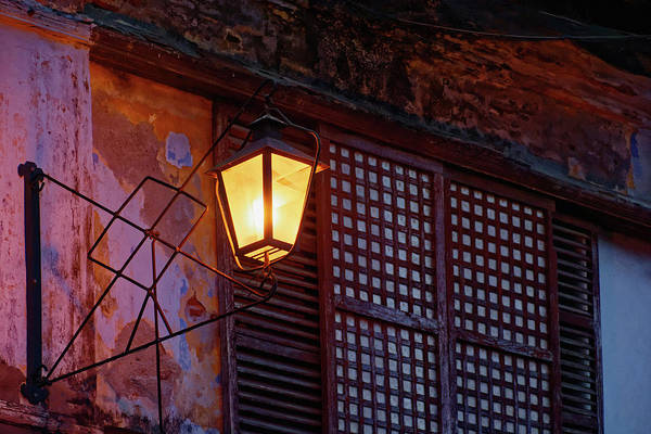 Calle Wall Art - Photograph - Illuminated Vintage Street Lamp by Panoramic Images