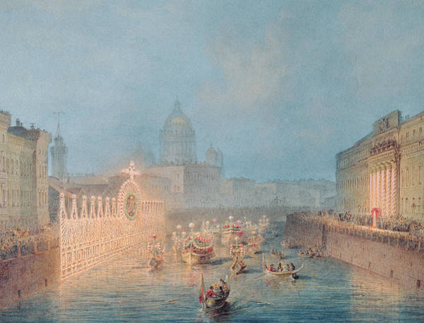 Illumination Painting - Illumination At The Moyka In St. Petersburg by Vasili Semenovich Sadovnikov