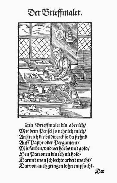 German Renaissance Drawing - Illuminator, 1568 by Granger