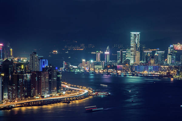 Kowloon Photograph - Illuminsated City Skyline At Night by D3sign