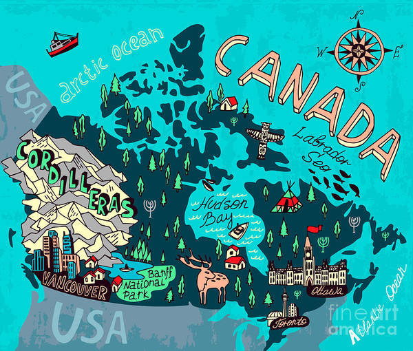Lake Digital Art - Illustrated Map Of Canada. Travel by Daria i