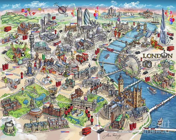 Wall Art - Painting - Illustrated Map Of London by Maria Rabinky