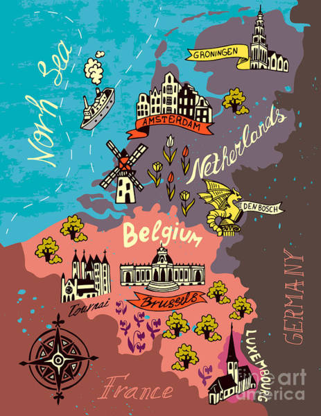 Europe Map Digital Art - Illustrated Map Of The Netherlands by Daria i