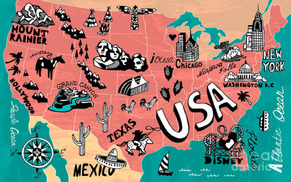 Illustrated Map Of Usa Art Print