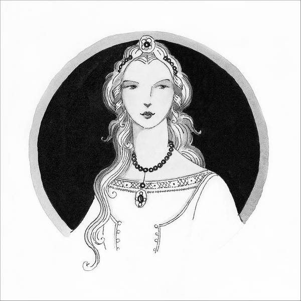 Necklace Digital Art - Illustrated Portrait Of A Woman by Claire Avery