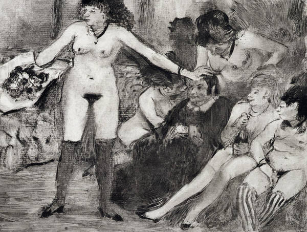 Impressionist Drawing - Illustration From La Maison Tellier By Guy De Maupassant  by Edgar Degas