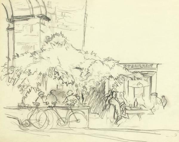 Bicycle Digital Art - Illustration Of A Cafe Scene by Carl Oscar August Erickson