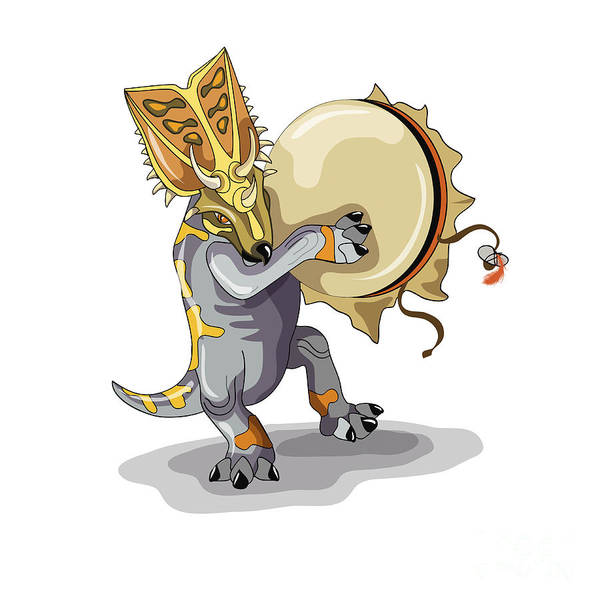 Shaman Digital Art - Illustration Of A Chasmosaurus Dancing by Stocktrek Images