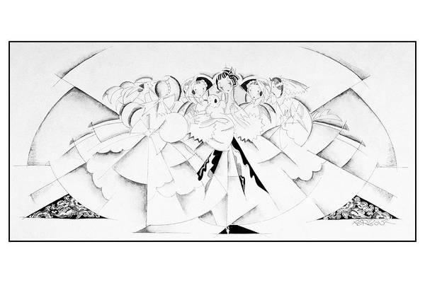 Dress Digital Art - Illustration Of A Crowd Of Women by John Barbour