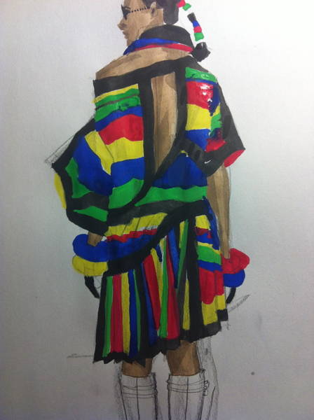 Primary Colors Drawing - Illustration Of A Dress by Laura Volpintesta