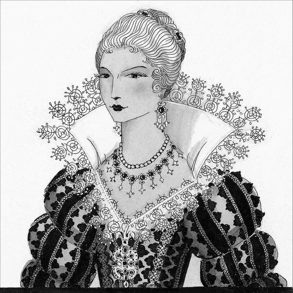 Necklace Digital Art - Illustration Of A Fifteenth Century Woman by Claire Avery