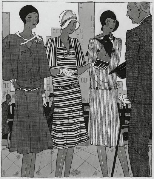 Headgear Digital Art - Illustration Of A Man And Three Fashionable Women by Jean Pages