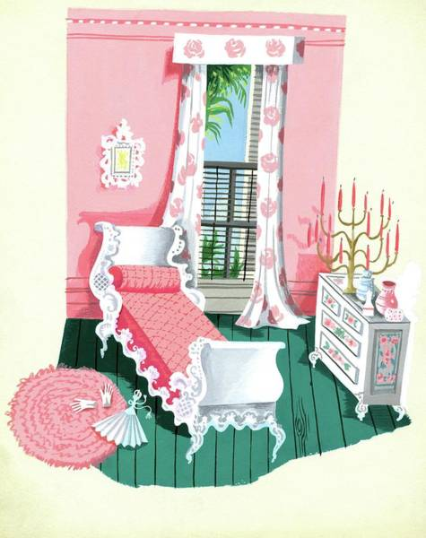 Bed Digital Art - Illustration Of A Victorian Style Pink And Green by Edna Eicke