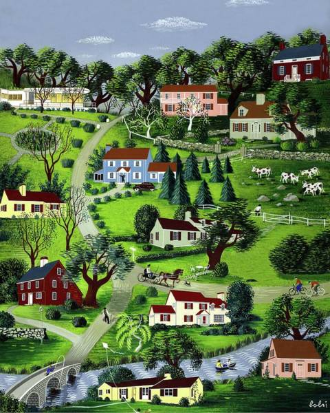 House Digital Art - Illustration Of A Village by Victor Bobritsky